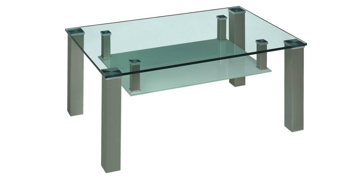 Glastisch mit Ablage